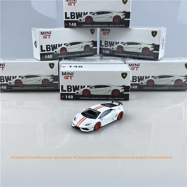 MINI GT 1:64  LB★WORKS Lamborghini Huracán  Version 1  White w/ Red Stripe (MGT00148) available now
