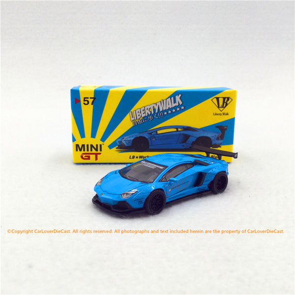 Mini GT 1:64 LB★WORKS  Lamborghini Aventador   diecast model  (Light Blue in LHD) MGT00057-L/R