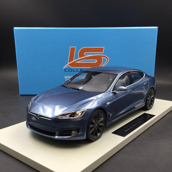 LS Collectibles-Tesla Model S Facelift en résine bleue 1:18 (LS028F)