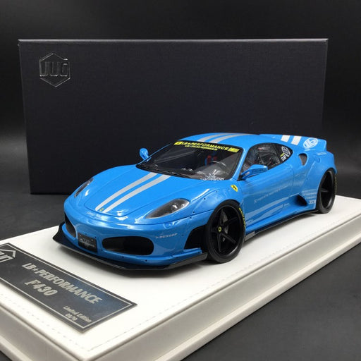 JUC 1:18 LB works F430 (resin Model)  Baby Blue with silver Strip + display case and White Leather like base available  now (J38-07S)  limited 10 units