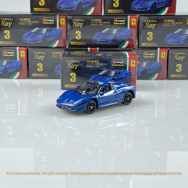 Bburago 1:64 Ferrari 458 Spider (Blue) 18-56100#3 diecast car model