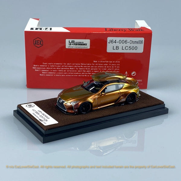 JEC 1:64 LB Works LC500 Wide body (Gold Chameleon ) free with Traveller Car Top Case (J64-006-Chome006) Resin car model available on end of May pre-order now