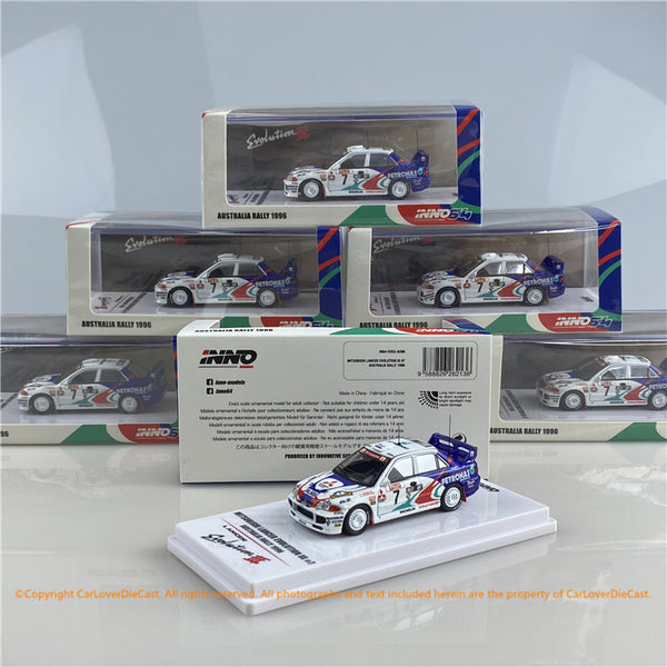 INNO 1:64 MITSUBISHI LANCER EVOLUTION III #7 Australia Rally 1996 (IN64-EVO3-AU96  ) diecast car model available now