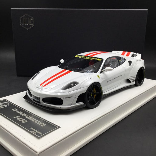 JUC 1:18 LB works F430 (resin Model)  white with Red Strip + display case and White Leather like base available  now (J38-03R)  limited 10 units