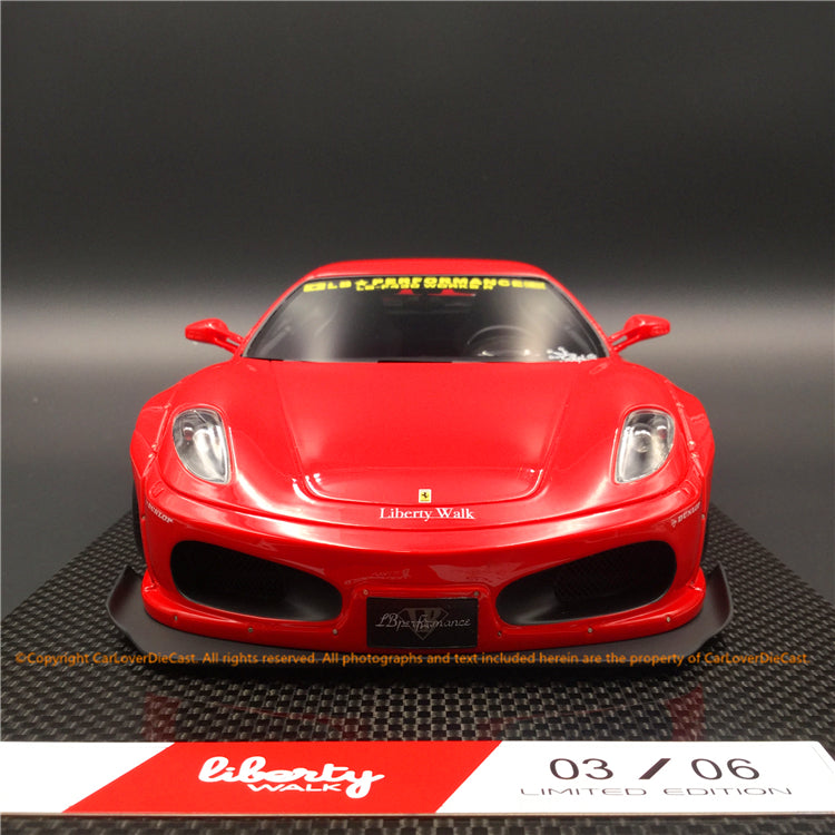 Liberty Walk 1:18 F430 (Rosso Corsa) LB1867-RC-S resin car model available now