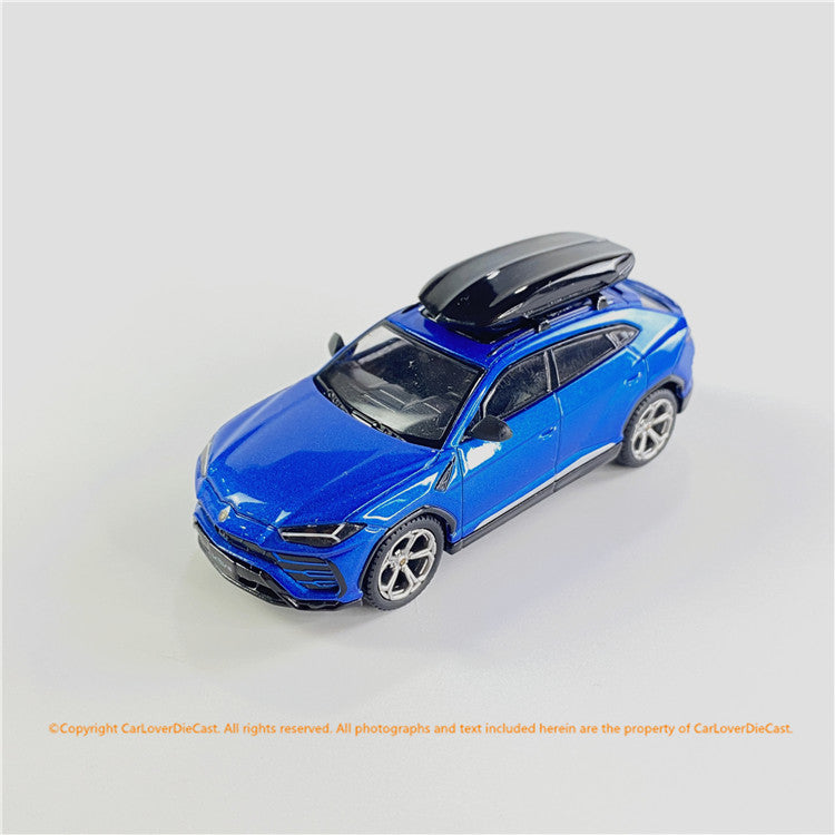 MIni GT 1:64 Lamborghini Urus Blu Eleos w/ Roof Box   (MGT00172-R/L) diecast car model