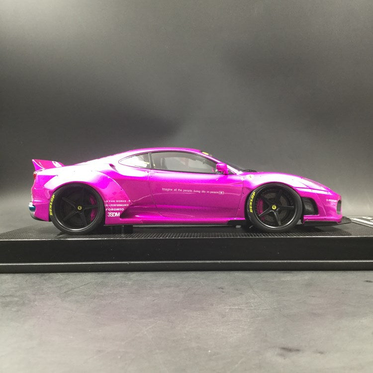 JUC 1:18 LB works F430 (resin Model) Flash Pink  display case and Carbon like base available  now  (J38-11C) Limited 5 units with free 1:18 Kato San Figure
