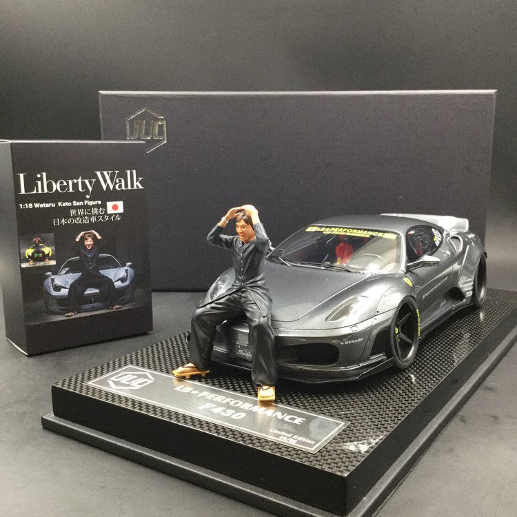 JUC 1:18 LB works F430 (resin Model) Iron Grey  display case and Carbon like base available  now  (J38-08C) Limited 3 units with free 1:18 Kato San Figure