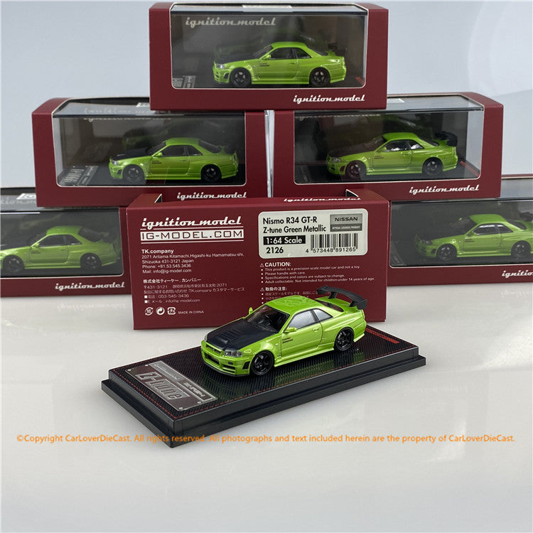 ignition model 1:64 Nissan R34  GT-R Z-tune (Green Metallic)(IG2126) diecast car model available now