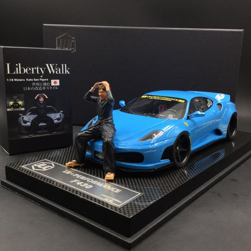 JUC 1:18 LB works F430 (resin Model) Baby Blue with  display case and Carbon like base available  now  (J38-07C) Limited 5 units with free 1:18 Kato San Figure