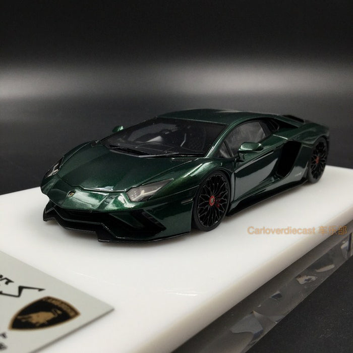 Makeup 1:43 Lamborghini Aventador S 2017 Center Rock Rim (Dark Green Metallic) resin model (EM361G)