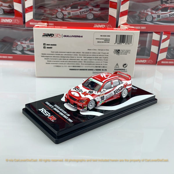 INNO Model 1:64 Toyota Altezza #10 RS*R Macau Guia Race 2001 IN64-RS200-10RSR diecast car model