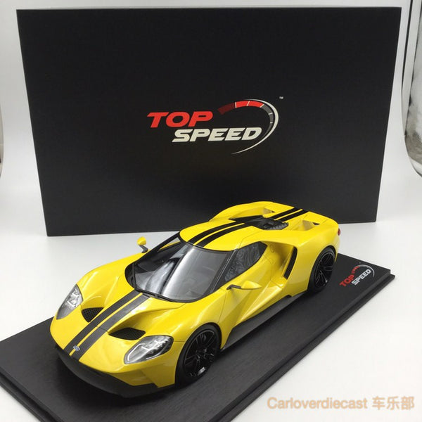 (TopSpeed) Ford GT 2015 LA Auto Show -Triple Yellow Scale 1/18 Resin Model (TS0029) Cover Display FREE!