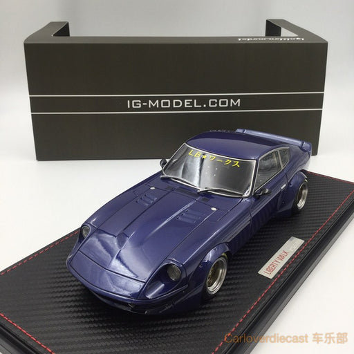 Ignition model - LB-works Fairlady Z (S30) (SS-Wheel) Blue / Gun Resin Scale 1:18 Available now (IG1099) free display cover