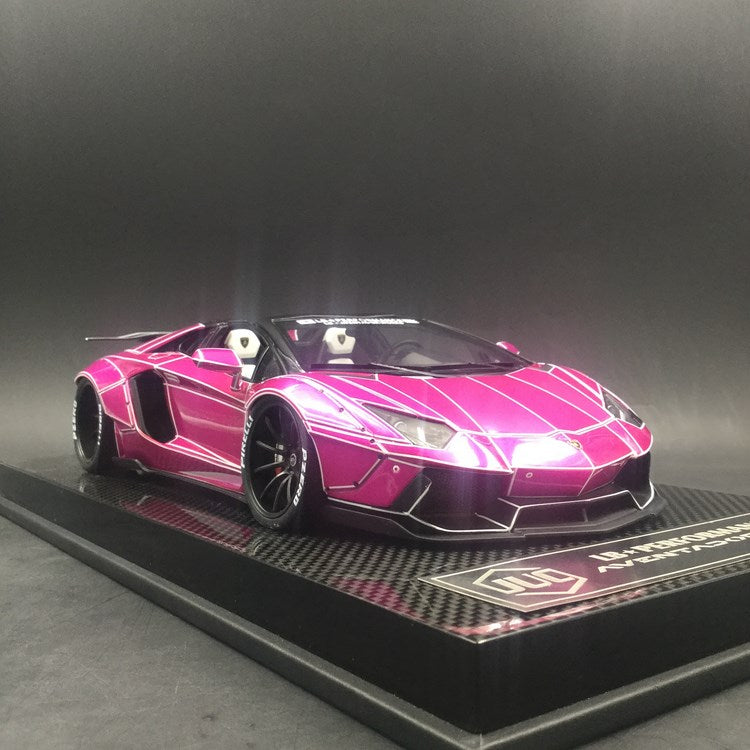 JUC 1:18 LB works Aventador Roadster (Tron Flash Pink) Carbon like based resin car model (J36-L-04) limited 15 units available now