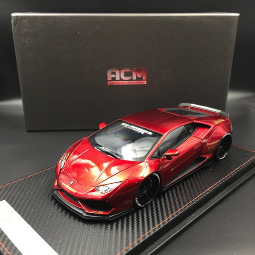 (ACM) Huracan LB Works Diecast Scale 1:18 (metallic  Red in black rims) custom made by order lead time 2 weeks