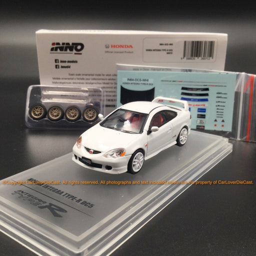 Inno Model 1:64 HONDA INTEGRA Type-R DC5 White *Extra Wheels  *Front bonnet carbon decals (IN64-DC5-WHI) diecast model available   now