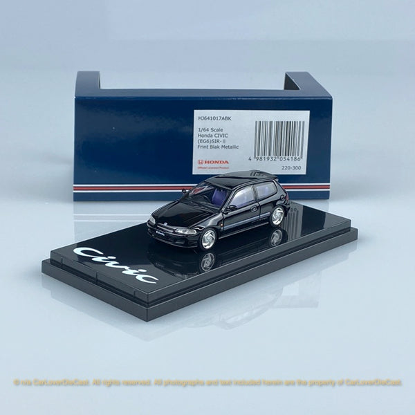 Hobby Japan 1:64 Honda Civic EG6 SiR-II Black diecast car model (HJ641017ABK)