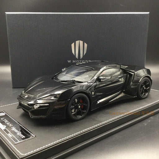 Kengfai model - W. motor Lykan Hypersport (Bright Black) diecast scale 1:18 full open with display case and base, coming  on June Pre-order now (KF00104)