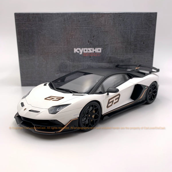 Kyosho 1:18 Lamborghini Aventador SVJ63 resin model in White limited 500 units (KSR18512W-B)