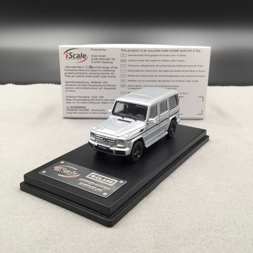 iScale 1:64 Mercedes W463 G-Klasse (Silver ) diecast car model with display case and cover