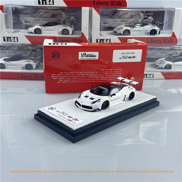 JEC 1:64 LBWK LB458GT  Glossy White (J64-008-WH) Resin  Car Model available NOW