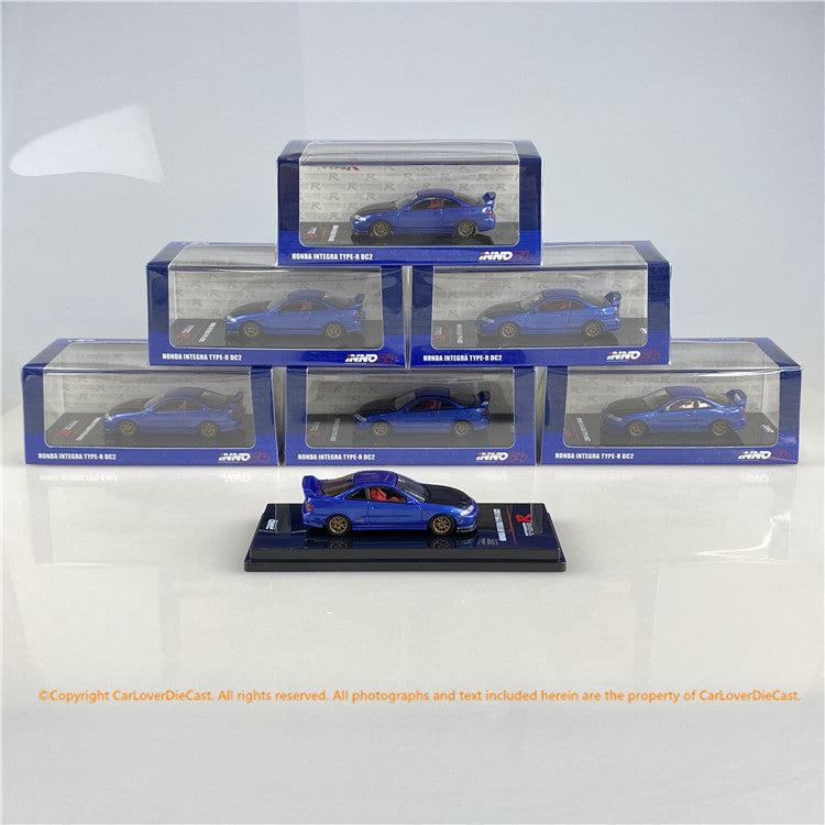 INNO 1:64  HONDA INTEGRA TYPE-R DC2 Blue W/ Extra wheels and Extra decals (IN64-DC2-BLU) diecast car model available now