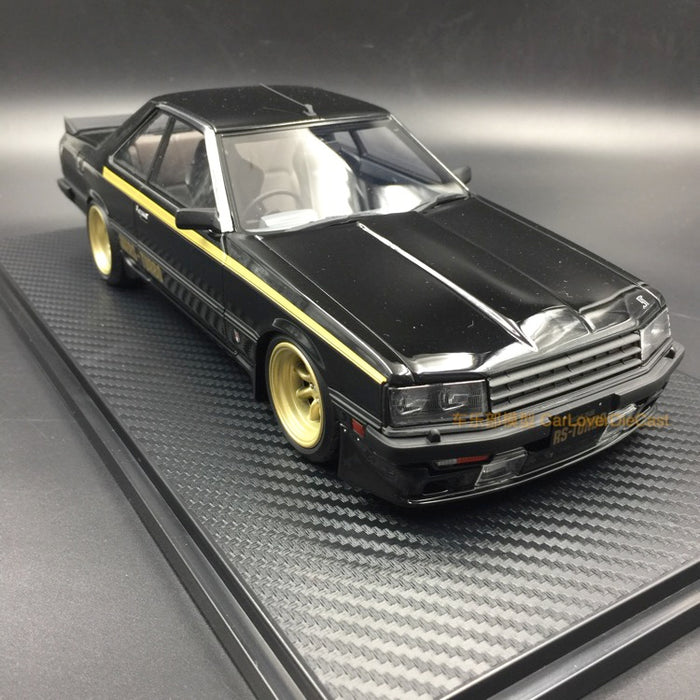 Ignition Model Nissan Skyline 2000 RS-Turbo (R30) Resin Scale 1/18 Model  (IG0986) Black with Watanabe Wheel free display cover