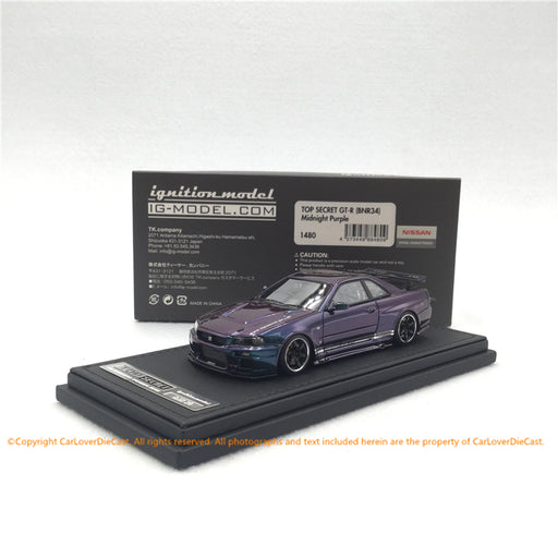 Ignition Model 1:43 TOP SECRET GT-R (BNR34) Midnight Purple  (IG1480) resin car model available now