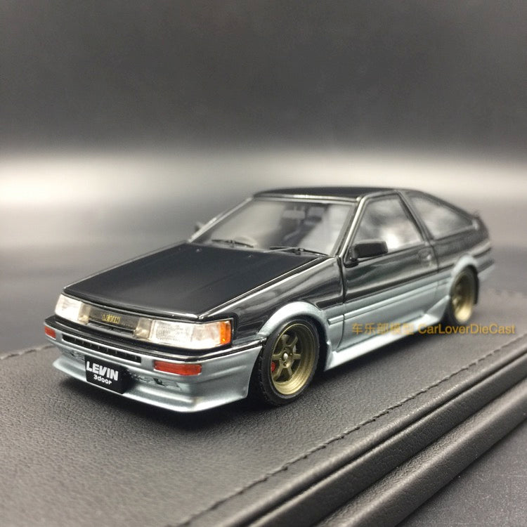 Ignition Model Toyota Corolla Levin (AE86) 3Door GT Apex Black / silver resin scale 1:43  (IG0474) available now