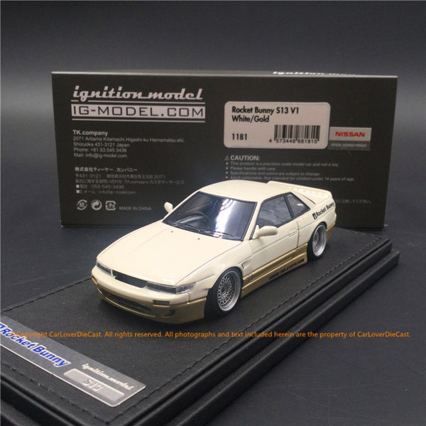 Ignition Model 1:43 Rocket Bunny S13 V1 White/Gold resin model (IG1181) available now