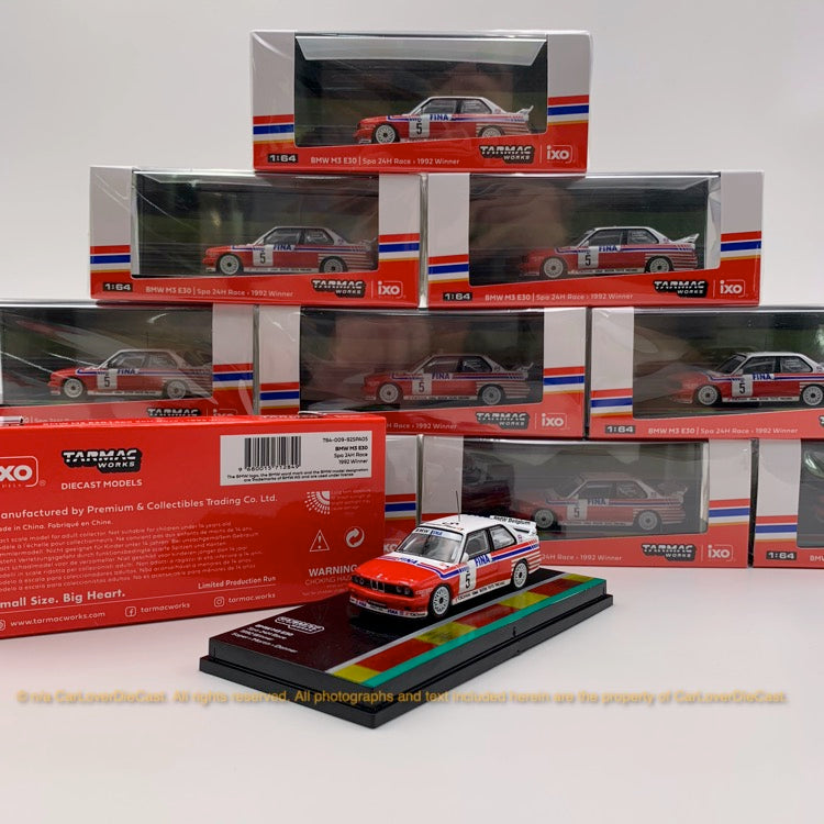 Tarmac Works 1:64 BMW M3 E30   Spa 24hours Race 1992 Winner Soper / Martin / Danner (Decal included) diecast car model (T64-009-92SPA05)