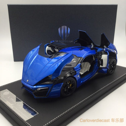 Kengfai model - W. motor Lykan Hypersport diecast scale 1:18 full open with display case and base in Blue re-stocking on June , pre-order now