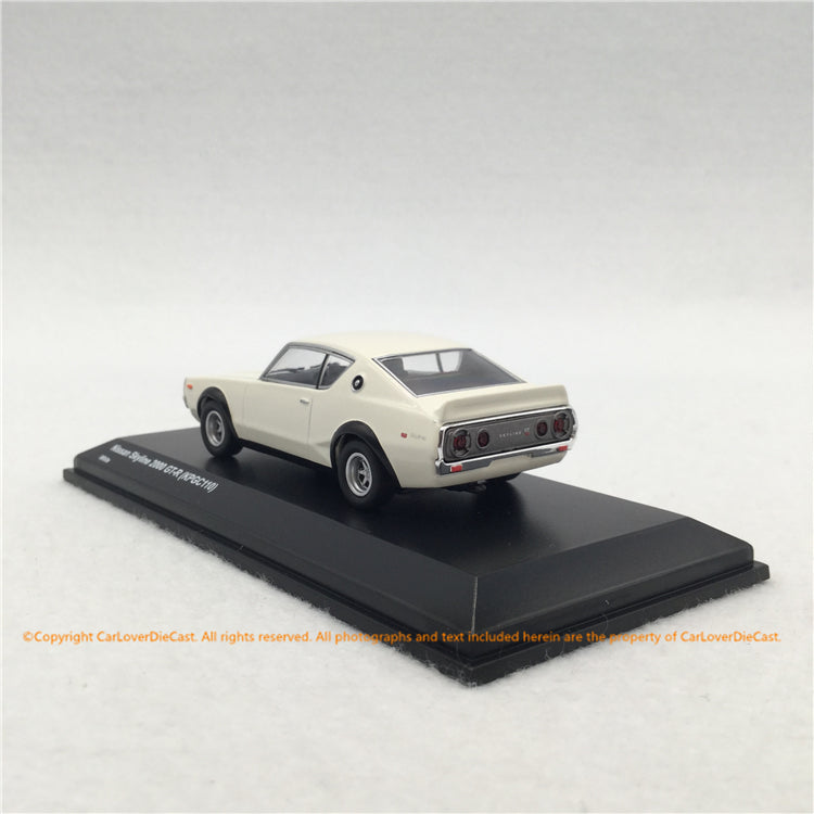 Kyosho 1:64 Nissan Skyline 2000GT-R (KPGC110) White with based and display cover diecast (KS06990W)  available now