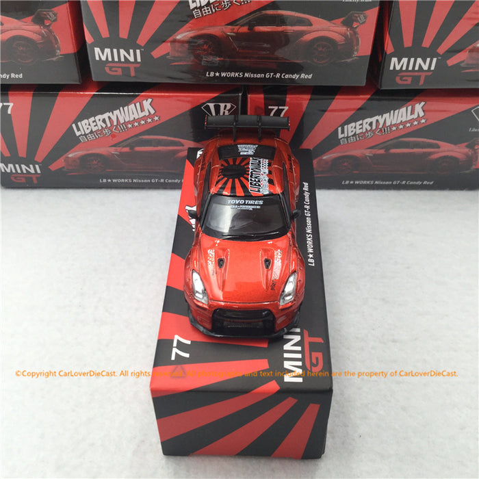 MINI GT 1:64 LB★Works Nissan GT-R R35 Type 1 Rear Wing ver 1+2  (MGT00077) Candy Red