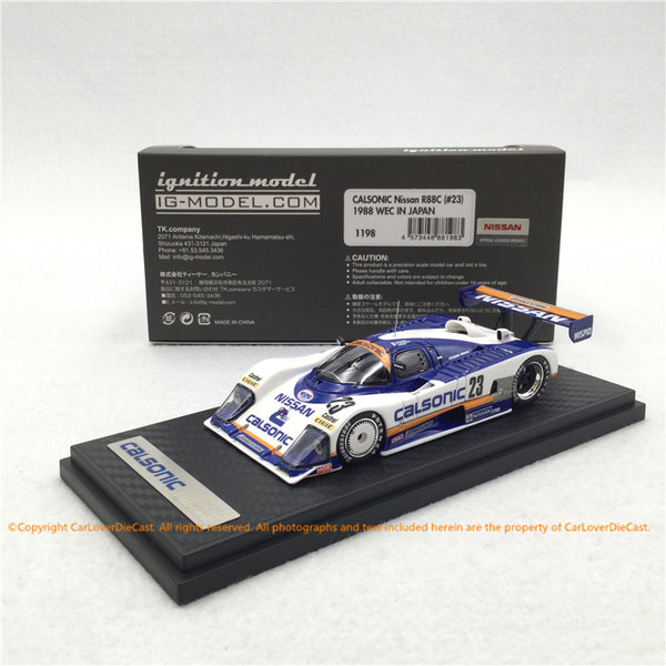 Modèle d'allumage CALSONIC Nissan R88C (#23) 1988 Resin Scale 1/43 Model (IG1198) disponible maintenant