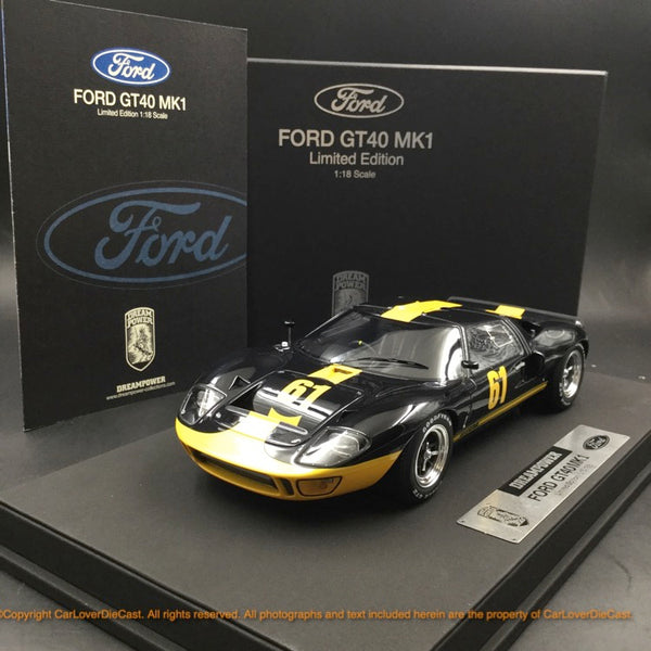 DreamPower 1:18 Ford GT40 MK1 modèle en résine (noir jaune) Limited 188 pcs disponible maintenant
