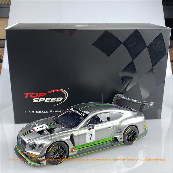 Topspeed 1:18 Bentley Continental GT3 #7  2018 Blancpain GT Series Monza  Bentley Team M-Sport (TS0243)