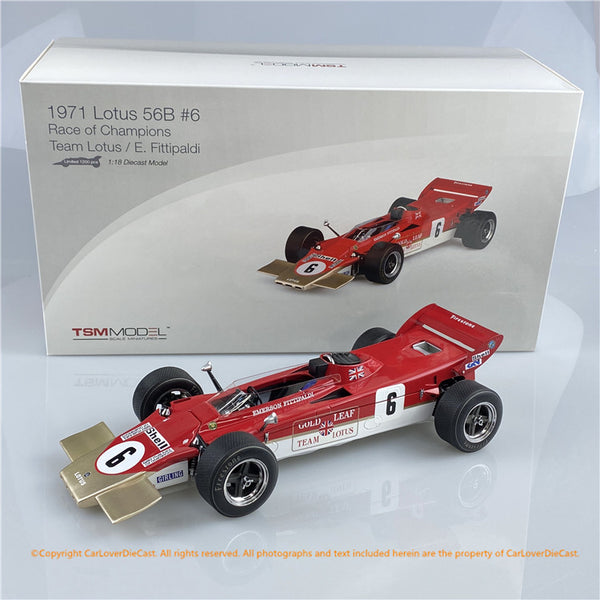 TSM Model 1:18 Lotus 56B #6 1971 Race of Champions Team (TSM151811) die cast model available on July 2020