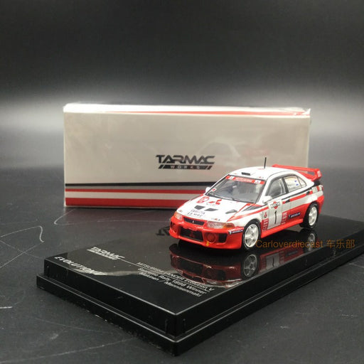 Tarmac Works -  Mitsubishi Lancer Evo V Sanremo Rally 1998 Winner Makinen / Mannisenmaki diecast scale 1:64 (T64-012-TME) available on April 2018 pre-order now