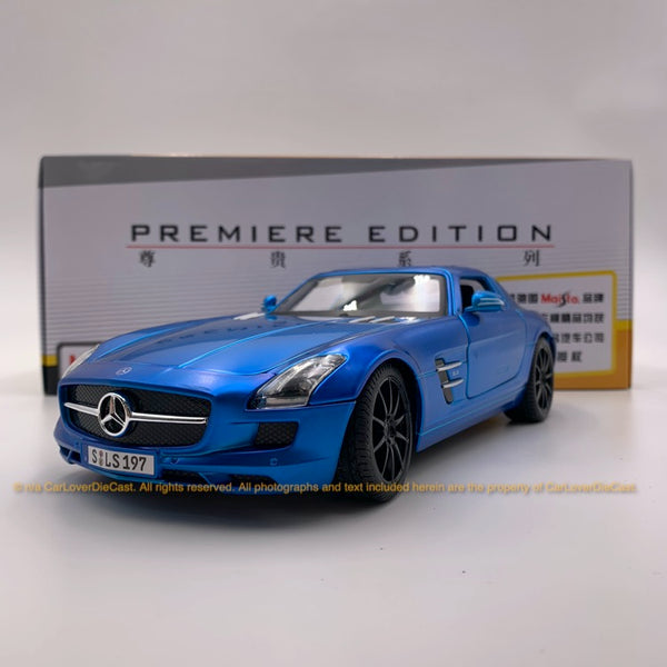 Maisto 1:18 Mercede SLS AMG (10-36196-Metallic Matt Blue) diecast car model