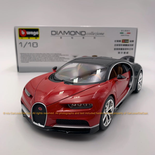 Bbruago 1:18 Bugatti Chiron 18-11040 Black/Red diecast car model