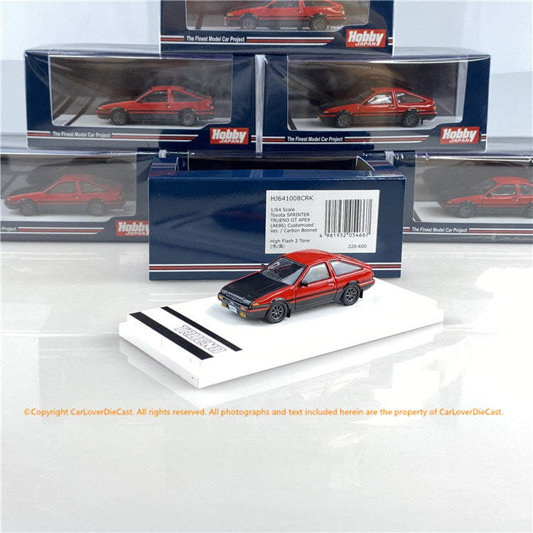 Hobby Japan 1:64 Toyota SPRINTER TRUENO GT APEX (AE86) Customized Version / Carbon Bonnet High Tech Two Tone (HJ641008CRK) Red /Black  diecast car model available