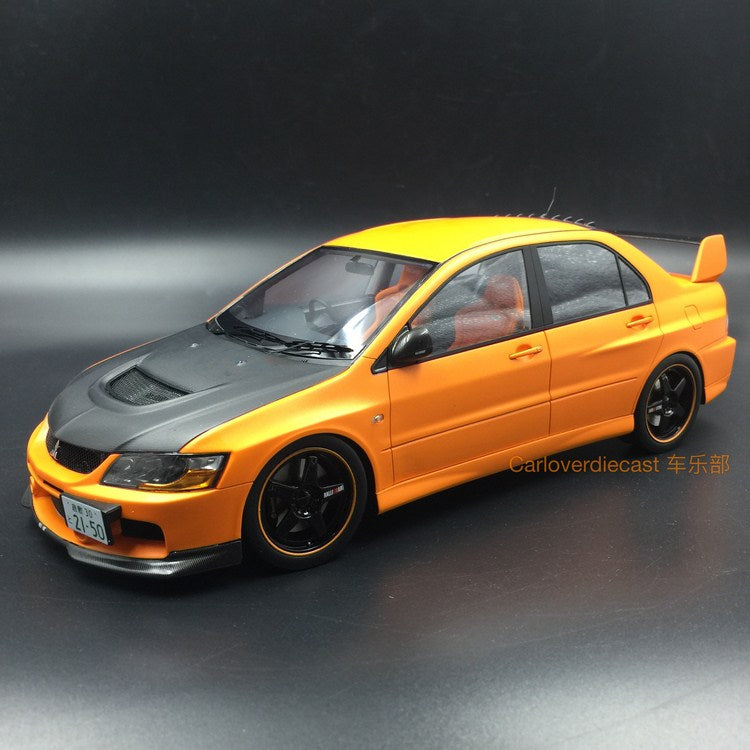 (AGU Model) Mitsubishi Lancer EVO IX resin scale 1:18 in (Orange with carbon bonnet ) AGU-010CR re-production available  now