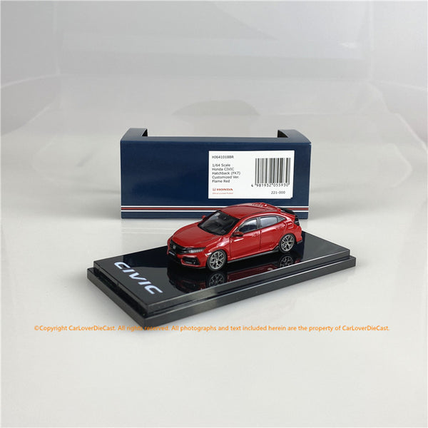 Hobby Japan1/64  Honda CIVIC HB (FK7)Honda CIVIC HB (FK7)改 Flame Red (HJ641018BR) diecast car model
