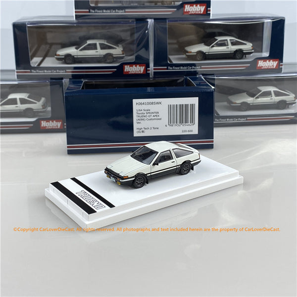 Hobby Japan 1:64 Toyota SPRINTER TRUENO GT APEX (AE86) Customized Version High Tech Two Tone (HJ641008SWK) white /Black  diecast car model available