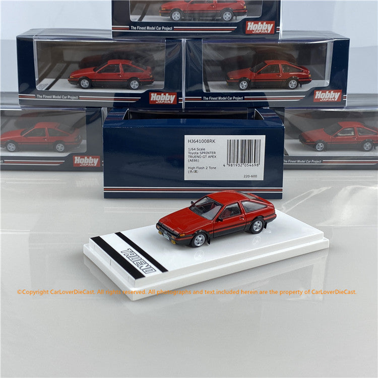 Hobby Japan 1:64 Toyota SPRINTER TRUENO GT APEX (AE86) High Tech Two Tone (HJ641008RK) Red/Black  diecast car model available