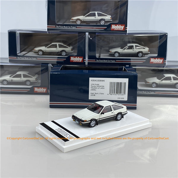Hobby Japan 1:64 Toyota SPRINTER TRUENO GT APEX (AE86) High Tech Two Tone (HJ641008WK) White/Black  diecast car model available