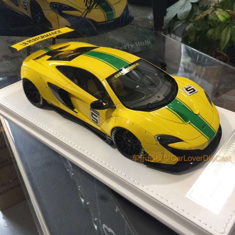 J's Models - Lb Works 650S resin Scale 1:18 (Yellow with Green Strip with leather based)(J001-YW) Limited edition 60pcs  available now