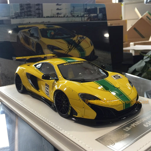J's Models - Lb Works 650S resin Scale 1:18 (Yellow with Green Strip with leather based) Limited edition 60pcs  available now